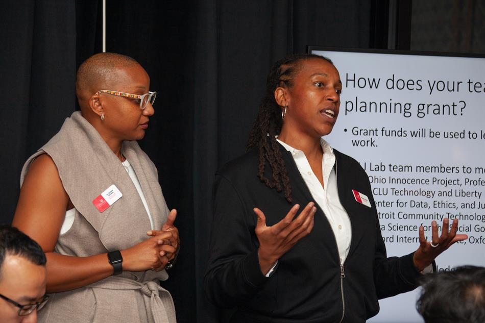 Brandi Blessett, right, and Tia Gaynor present on their Administrative Law and Justice Lab, a part of the University of Cincinnati's Digital Futures Initiative in 2019. Ravenna Rutledge/ University of Cincinnati