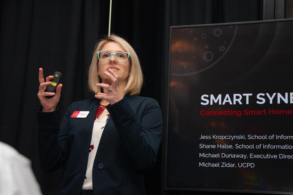 Jess Kropczynski talks about her team's Digital Futures project Smart Synergies, which looks to connect smart homes to smart cities. Ravenna Rutledge/ University of Cincinnati